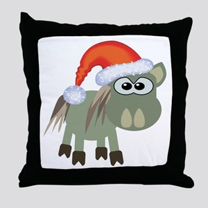 Cute Christmas Donkey Santa Throw Pillow